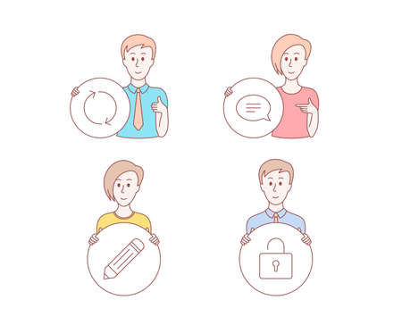 People hand drawn style. Set of Pencil, Chat and Refresh icons. Lock sign. Edit data, Speech bubble, Rotation. Private locker.  Character hold circle button. Man with like hand. Vector Illustration