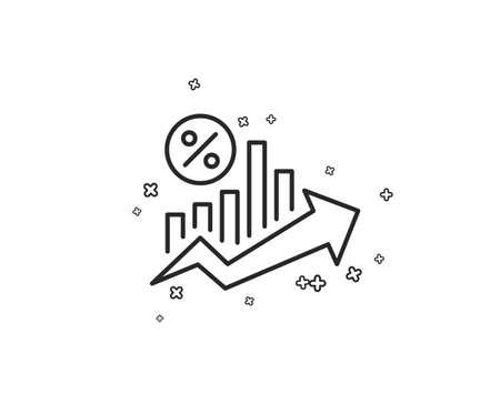 Darlehen Prozent Wachstum Diagramm Liniensymbol. Rabattzeichen. Symbol für Kreditprozentsatz. Geometrische Formen. Zufällige Kreuzelemente. Lineares Darlehen Prozent-Icon-Design. Vektor Vektorgrafik