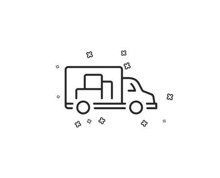 Truck transport line icon. Transportation vehicle sign. Delivery symbol. Geometric shapes. Random cross elements. Linear Truck transport icon design. Vector
