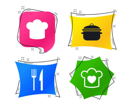 Chief hat and cooking pan icons. Fork and knife signs. Boil or stew food symbols. Geometric colorful tags. Banners with flat icons. Trendy design. Vector