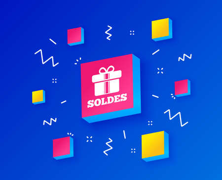 Soldes - Sale in French sign icon. Gift box with ribbons symbol. Isometric cubes with geometric shapes. Creative shopping banners. Template for design. Vector Stock Vector - 124762793