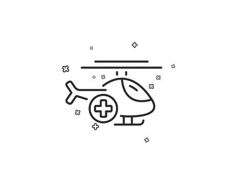 Medical helicopter line icon. Emergency sky transport sign. Geometric shapes. Random cross elements. Linear Medical helicopter icon design. Vector