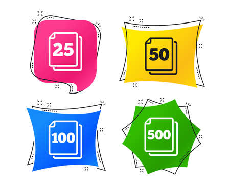 In pack sheets icons. Quantity per package symbols. 25, 50, 100 and 500 paper units in the pack signs. Geometric colorful tags. Banners with flat icons. Trendy design. Vector Çizim