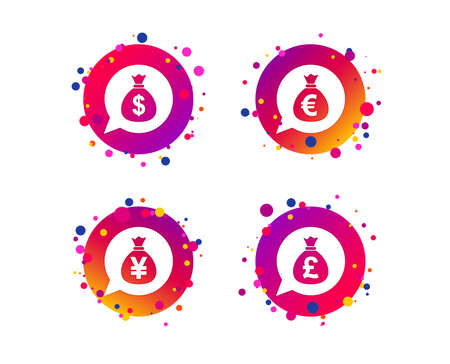Money bag icons. Dollar, Euro, Pound and Yen speech bubbles symbols. USD, EUR, GBP and JPY currency signs. Gradient circle buttons with icons. Random dots design. Vector 向量圖像