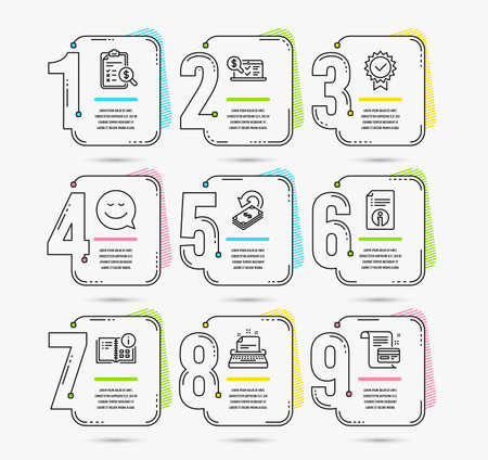 Infographic template with numbers 9 options. Set of Typewriter, Instruction info and Technical info icons. Smile, Cashback and Accounting report signs. Vector