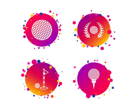Golf ball icons. Laurel wreath winner award sign. Luxury sport symbol. Gradient circle buttons with icons. Random dots design. Vector