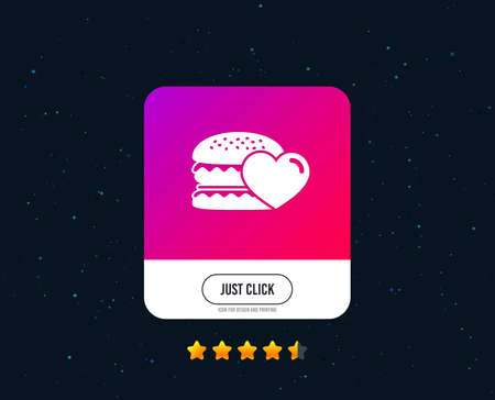 Hamburger icon. Burger food symbol. Cheeseburger sandwich sign. Web or internet icon design. Rating stars. Just click button. Vector
