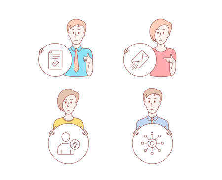 People hand drawn style. Set of User idea, E-mail and Approved checklist icons. Multichannel sign. Light bulb, Mail delivery, Accepted message. Multitasking.  Character hold circle button. Vector