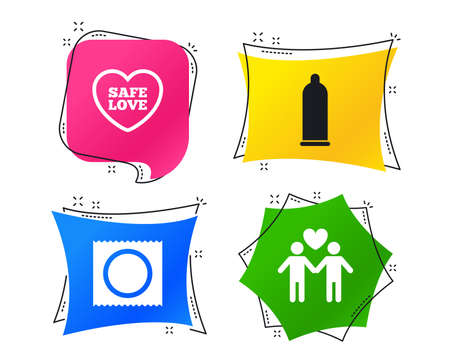 Condom safe sex icons. Lovers Gay couple signs. Male love male. Heart symbol. Geometric colorful tags. Banners with flat icons. Trendy design. Vector