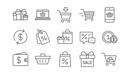 Shopping line icons. Gift, Percent sign and Sale discount. Delivery linear icon set.  Vector Ilustração