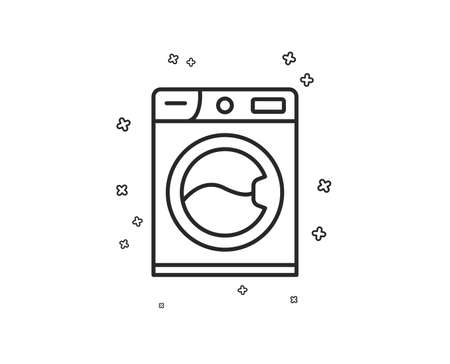 Washing machine line icon. Cleaning service symbol. Laundry sign. Geometric shapes. Random cross elements. Linear Washing machine icon design. Vector Illustration