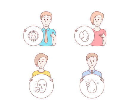 People hand drawn style. Set of Face detect, Uv protection and Oil drop icons. Vitamin e sign. Select target, Ultraviolet, Serum. Oil drop.  Character hold circle button. Man with like hand. Vector Banque d'images - 118017603