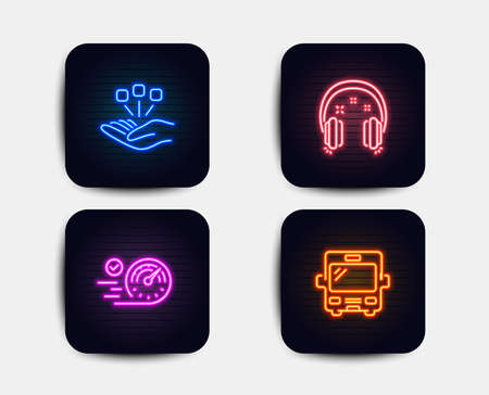 Neon glow lights. Set of Speedometer, Consolidation and Headphones icons. Bus sign. Time concept, Strategy, Earphones. Tourism transport.  Neon icons. Glowing light banners. Vector