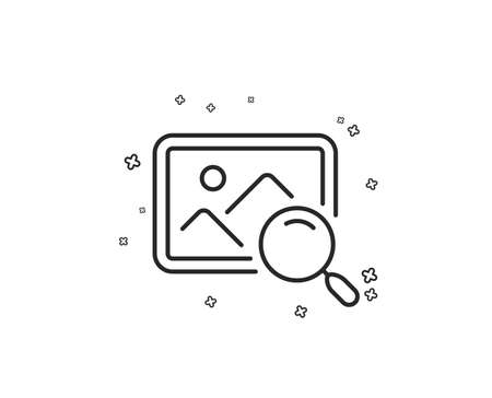 Search photo line icon. Find image or picture sign. Geometric shapes. Random cross elements. Linear Search photo icon design. Vector