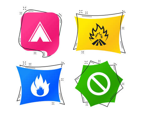 Tourist camping tent icon. Fire flame and stop prohibition sign symbols. Geometric colorful tags. Banners with flat icons. Trendy design. Vector