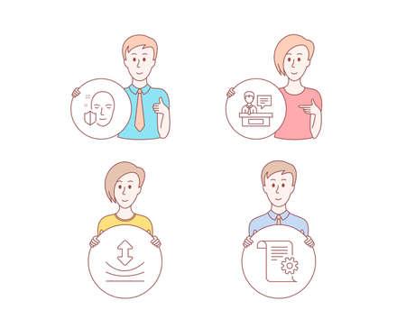 Gente estilo dibujado a mano. Conjunto de iconos de protección facial, resiliencia y expositores. Señal de documentación técnica. Acceso seguro, Elastic, Information desk. Manual. Carácter mantenga botón de círculo. Vector Ilustración de vector