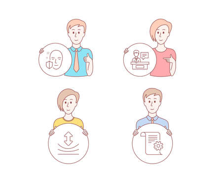 People hand drawn style. Set of Face protection, Resilience and Exhibitors icons. Technical documentation sign. Secure access, Elastic, Information desk. Manual.  Character hold circle button. Vector