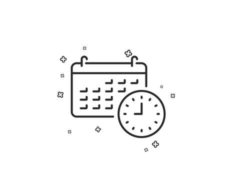 Time and calendar line icon. Clock or watch sign. Geometric shapes. Random cross elements. Linear Calendar icon design. Vector