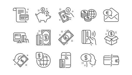 Money payment line icons. Bank transfer, Piggy bank and Credit card. Cash linear icon set.  Vector