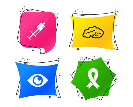 Medicine icons. Syringe, eye, brain and ribbon signs. Breast cancer awareness symbol. Human intelligent smart mind. Geometric colorful tags. Banners with flat icons. Trendy design. Vector