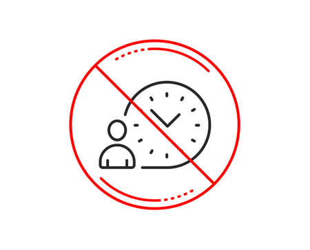 No or stop sign. Time management line icon. Clock sign. Caution prohibited ban stop symbol. No  icon design.  Vector Illustration