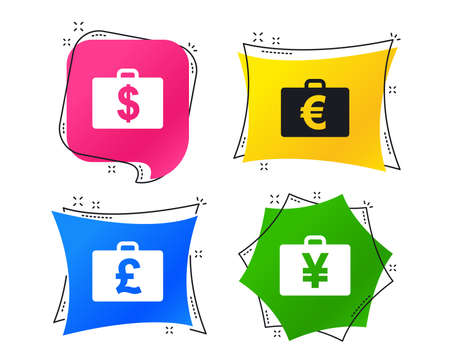 Businessman case icons. Cash money diplomat signs. Dollar, euro and pound symbols. Geometric colorful tags. Banners with flat icons. Trendy design. Vector