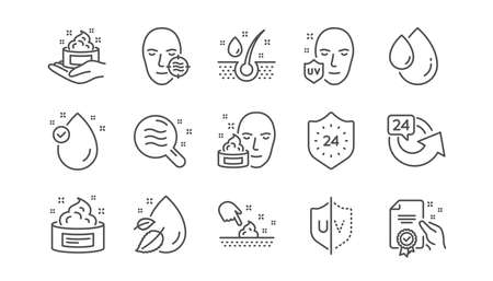 Skin care line icons. Cream, Serum drop and Face gel or lotion. Uv protection linear icon set.  Vector