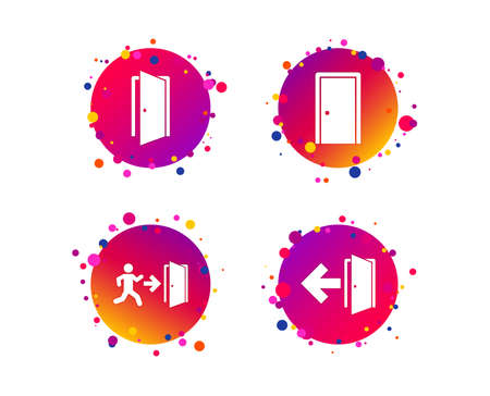 Doors icons. Emergency exit with human figure and arrow symbols. Fire exit signs. Gradient circle buttons with icons. Random dots design. Vector