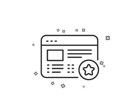 Star line icon. Feedback rating sign. Web favorite symbol. Geometric shapes. Random cross elements. Linear Favorite icon design. Vector Illusztráció