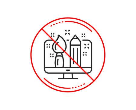 No or stop sign. Creative design line icon. Graphic designer sign. Brush and pencil symbol. Caution prohibited ban stop symbol. No  icon design.  Vector
