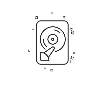 Hdd line icon. Computer memory component sign. Data storage symbol. Geometric shapes. Random cross elements. Linear Hdd icon design. Vector