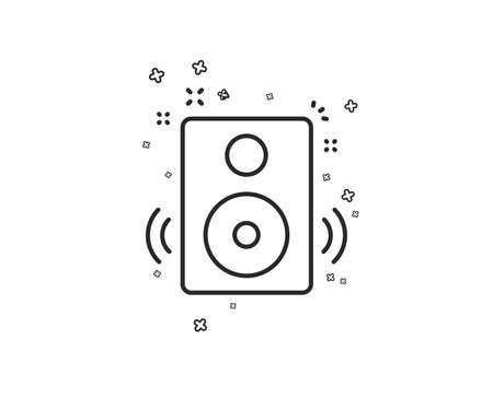 Speakers line icon. Music sound sign. Musical device symbol. Geometric shapes. Random cross elements. Linear Speakers icon design. Vector