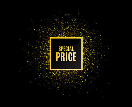 Gold glitter banner. Special price symbol. Sale sign. Advertising Discounts symbol. Christmas sales background. Abstract shopping banner tag. Template for design. Vector Illustration