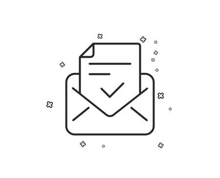 Approved mail line icon. Accepted or confirmed sign. Document symbol. Geometric shapes. Random cross elements. Linear Approved mail icon design. Vector