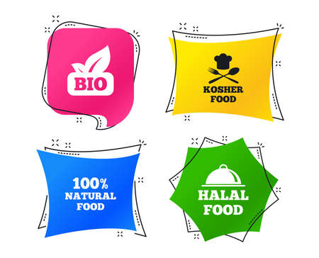 100% Natural Bio food icons. Halal and Kosher signs. Chief hat with fork and spoon symbol. Geometric colorful tags. Banners with flat icons. Trendy design. Vector