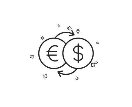 Money exchange line icon. Banking currency sign. Euro and Dollar Cash transfer symbol. Geometric shapes. Random cross elements. Linear Money exchange icon design. Vector  イラスト・ベクター素材