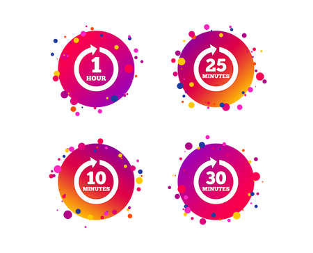 Every 10, 25, 30 minutes and 1 hour icons. Full rotation arrow symbols. Iterative process signs. Gradient circle buttons with icons. Random dots design. Vector