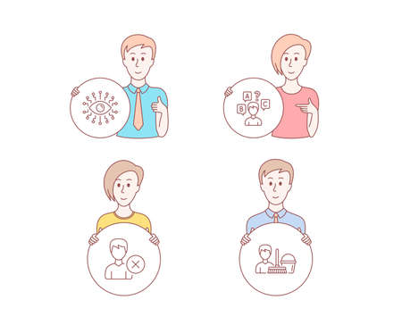 People hand drawn style. Set of Artificial intelligence, Quiz test and Remove account icons. Cleaning service sign. All-seeing eye, Interview, Delete user. Bucket with mop. Vector Illustration