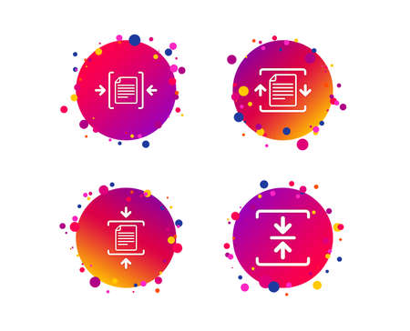 Archive file icons. Compressed zipped document signs. Data compression symbols. Gradient circle buttons with icons. Random dots design. Vector Illustration