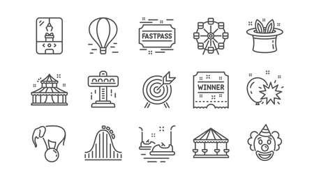 Symbole für die Vergnügungsparklinie. Karussell, Achterbahn und Zirkus. Riesenrad lineare Icon-Set. Vektor