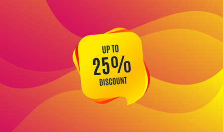 Up to 25% Discount. Sale offer price sign. Special offer symbol. Save 25 percentages. Wave background. Abstract shopping banner. Template for design. Vector