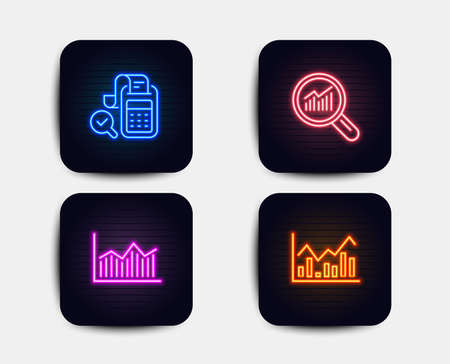 Neon glow lights. Set of Data analysis, Bill accounting and Money diagram icons. Infochart sign. Magnifying glass, Audit report, Currency diagram. Stock exchange.  Neon icons. Glowing light banners