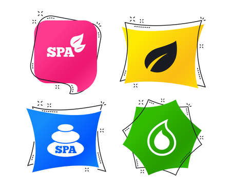 Spa stones icons. Water drop with leaf symbols. Natural tear sign. Geometric colorful tags. Banners with flat icons. Trendy design. Vector