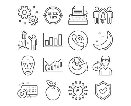 Set of Typewriter, Work and Face biometrics icons. Financial diagram, Fireworks and Report diagram signs. Partnership, Share idea and Tips symbols. Writer machine, Settings, Facial recognition