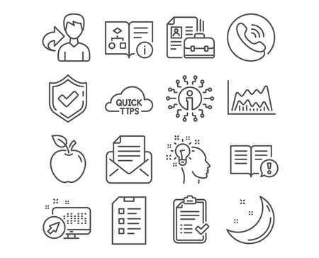Set of Approved checklist, Trade chart and Facts icons. Checklist, Idea and Vacancy signs. Quick tips, Mail correspondence and Technical algorithm symbols. Vector