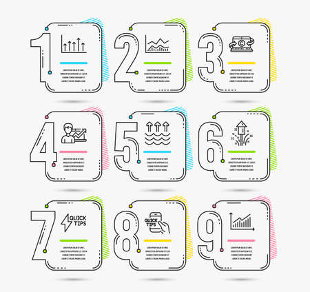 Infographic template with numbers 9 options. Set of Education, Fireworks and Success business icons. Evaporation, Growth chart and Trade infochart signs. Vector Illustration