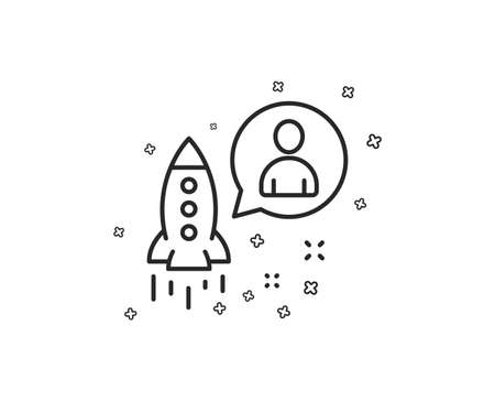 Startup line icon. Business management sign. Launch project symbol. Geometric shapes. Random cross elements. Linear Startup icon design. Vector