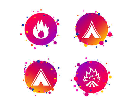 Tourist camping tent icons. Fire flame sign symbols. Gradient circle buttons with icons. Random dots design. Vector Ilustrace