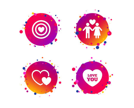 Valentine day love icons. Target aim with heart symbol. Couple lovers sign. Gradient circle buttons with icons. Random dots design. Vector Иллюстрация