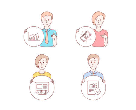 People hand drawn style. Set of Infographic graph, Atm and Euro money icons. Checked calculation sign. Line diagram, Money withdraw, Cash. Statistical data.  Character hold circle button. Vector